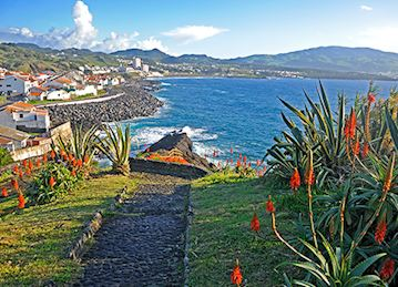 A pathway leading to the beach and lined with flowers at Azores Coastal village