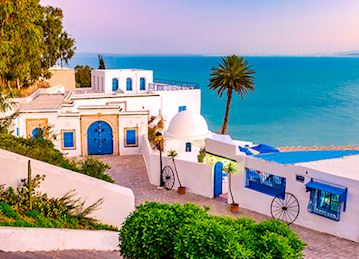 Sidi Bou Said blue and white building on the water