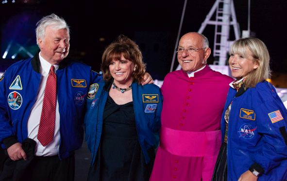 Viing Orion christening ceremony with Tor Hagen, Dr. Anna Lee Fisher and Karine Hagen