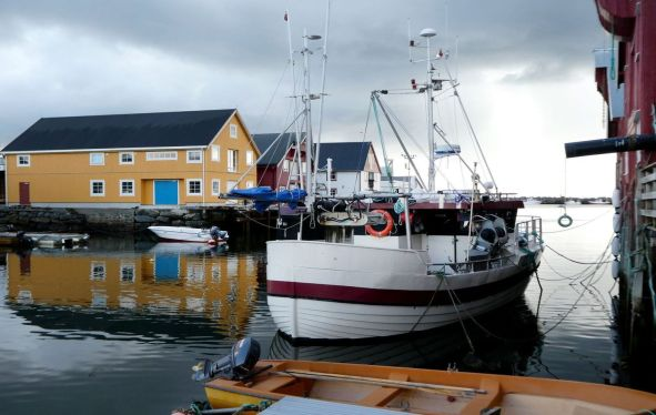 A small boat in a harbor with a yellow building behind.
