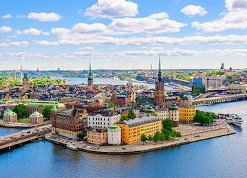Photo of Riddarholmen, a small islet in central Stockholm, Sweden. The island forms part of Gamla Stan, the old town, and houses a number of private palaces dating back to the 17th century