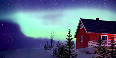 Aurora Borealis above home in Tromso, Norway