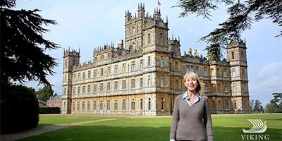 Karine Hagen in front of Highclere Castle, England