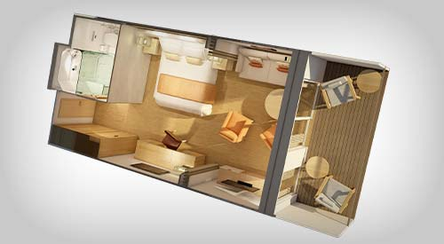 Pentouse Junior Suite stateroom rendering